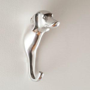 Silver dog wall hook online