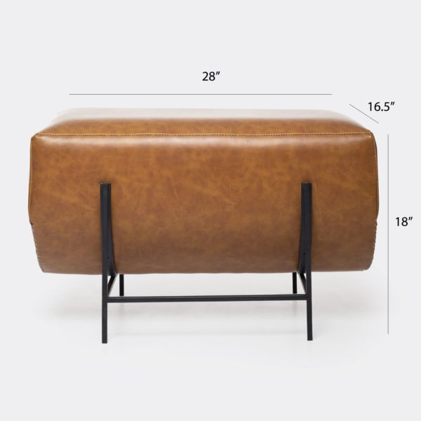Contemporary Modern Leather Bench