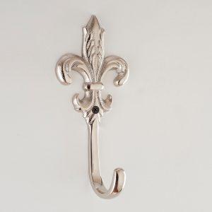 Silver fleur de lis wall hook