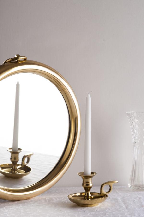 Small Gold Round Mirror