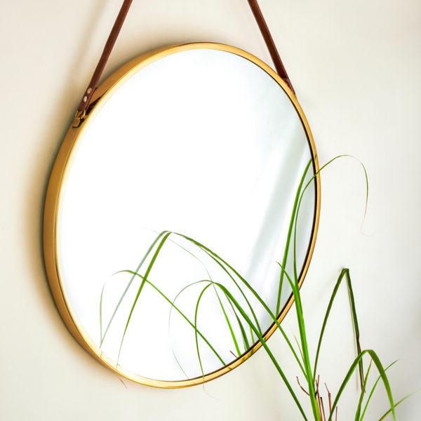 Brass Round Gold Hanging Mirror