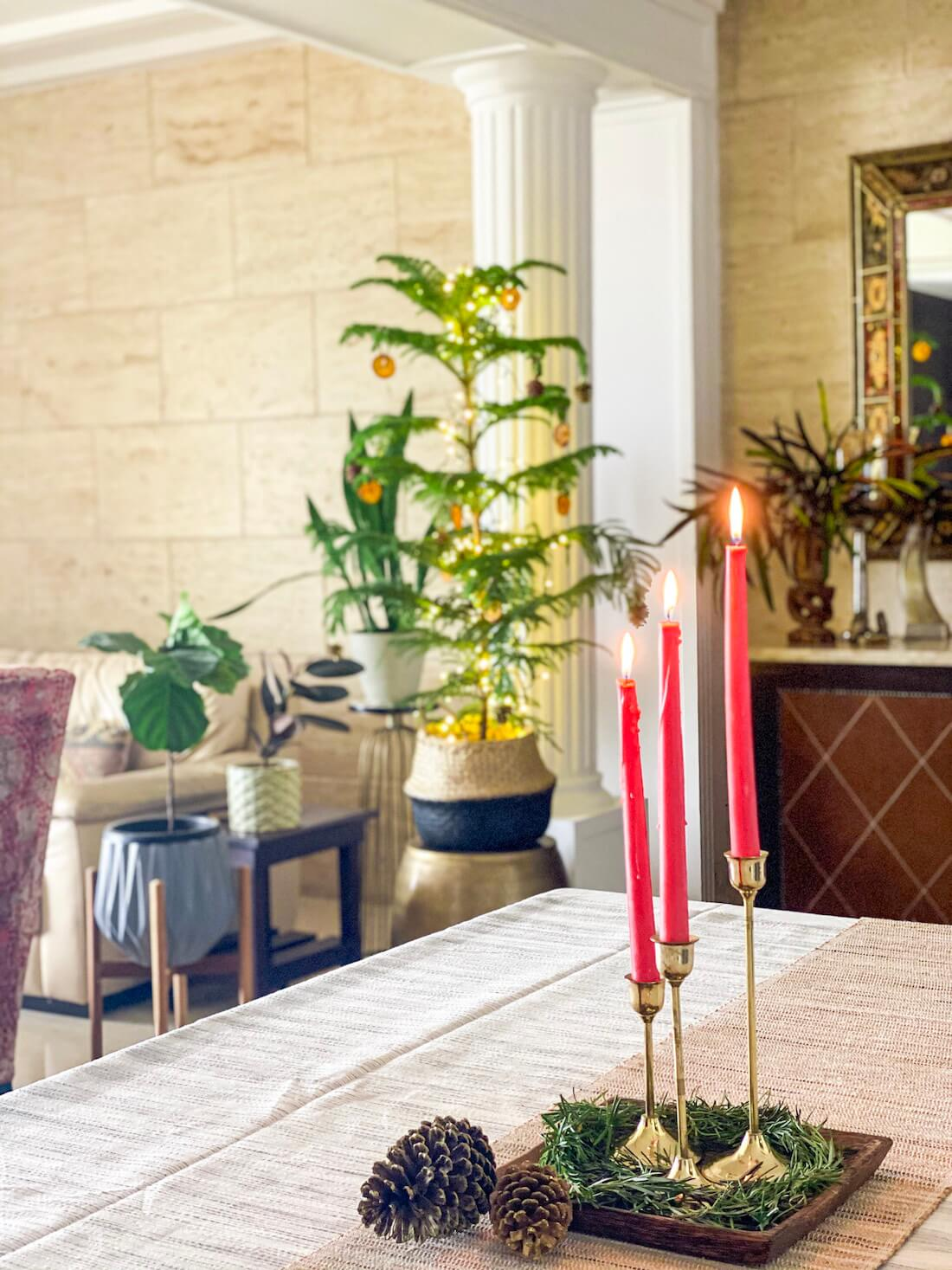 Brass Candle stand set on dining table