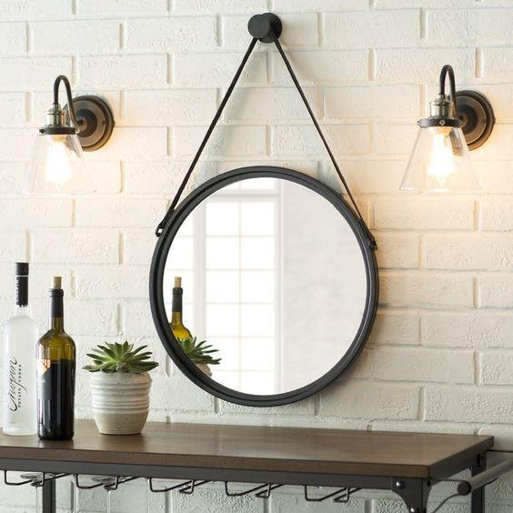 round mirrors on rope