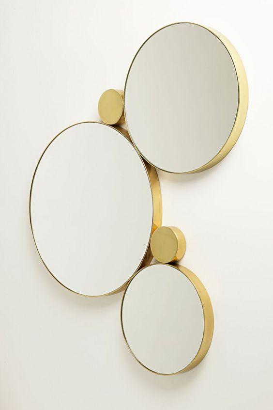 round gold mirror set