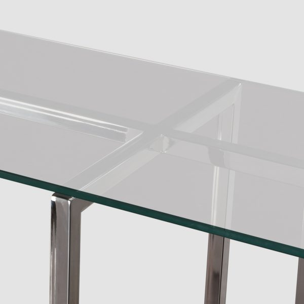Silver console table close up