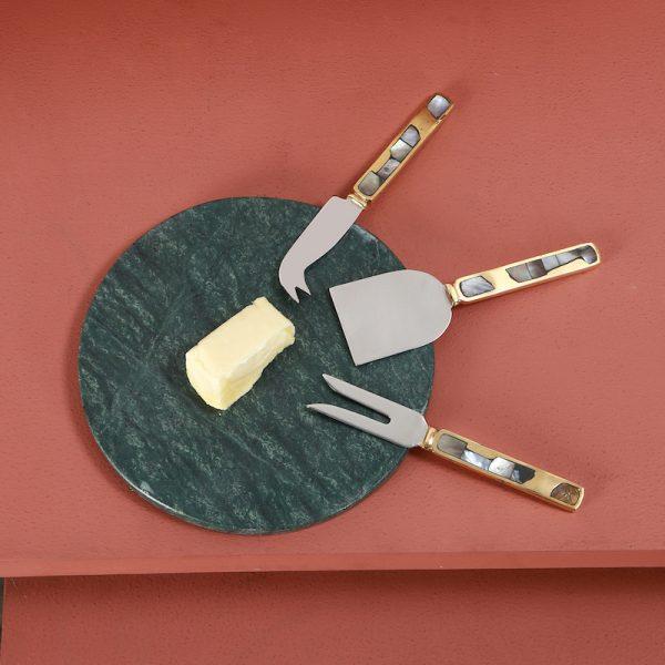 Brass cheese knife set