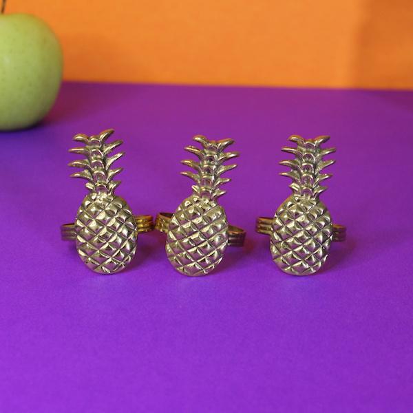 Pineapple Napkin Rings Set of 6