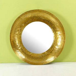 Top brass : Gold Round Mirror