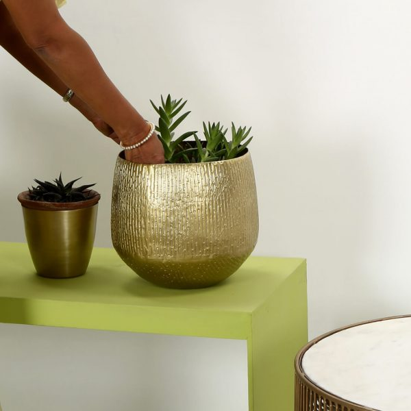 gold indoor planters : toppbrass